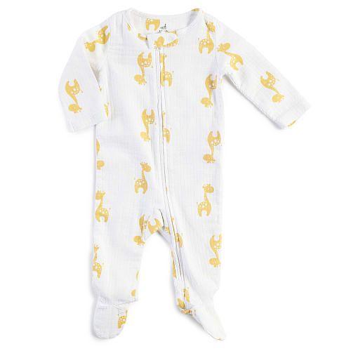 "aden® by aden+ anais® Neutral White with Yellow Giraffe Allover Printed Muslin Sleep 'n Play Footie - aden & anais - Babies""R""Us"