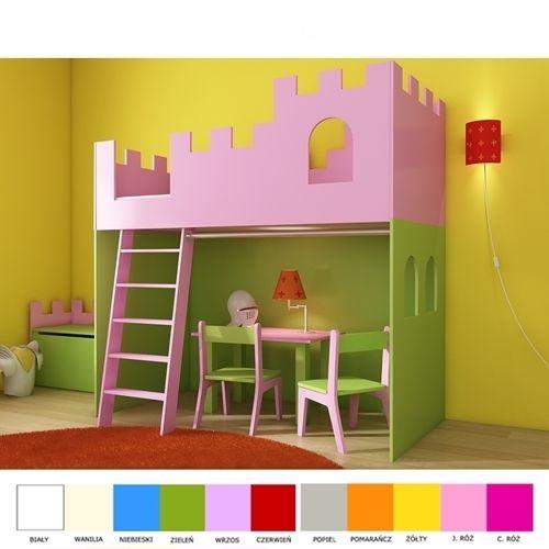 Antresola ZAMEK dla księżniczki - łóżko piętrowe z 3 letnią gwarancją. Kolor dobierasz wg własnego uznania. Antresola może być wyższa. Cena 1590 zł.