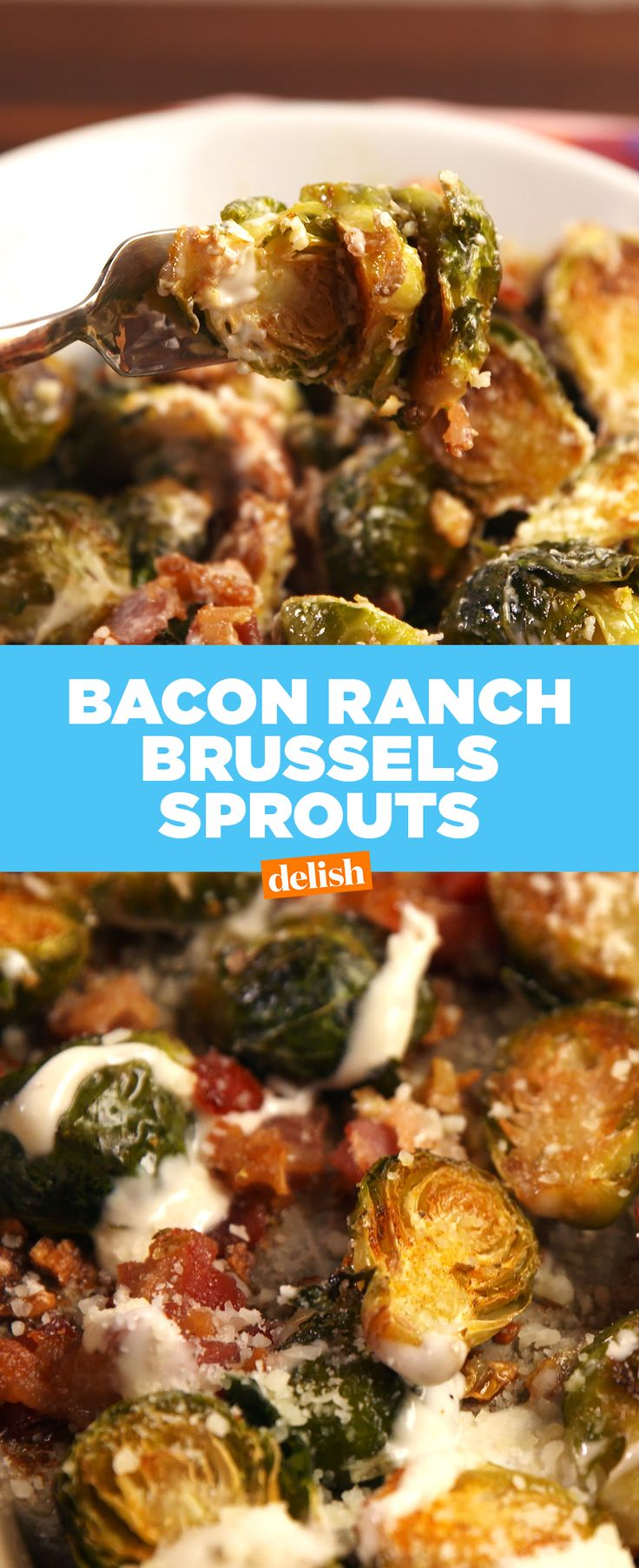 We CAN'T stop eating these Bacon Ranch Brussels Sprouts. Get the recipe at Delish.com.