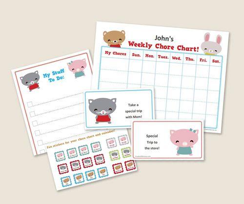 """un kit pour organiser les petites """"corvées"""" données aux enfants... certains éléments pourront trouver place sur nos créations..."""
