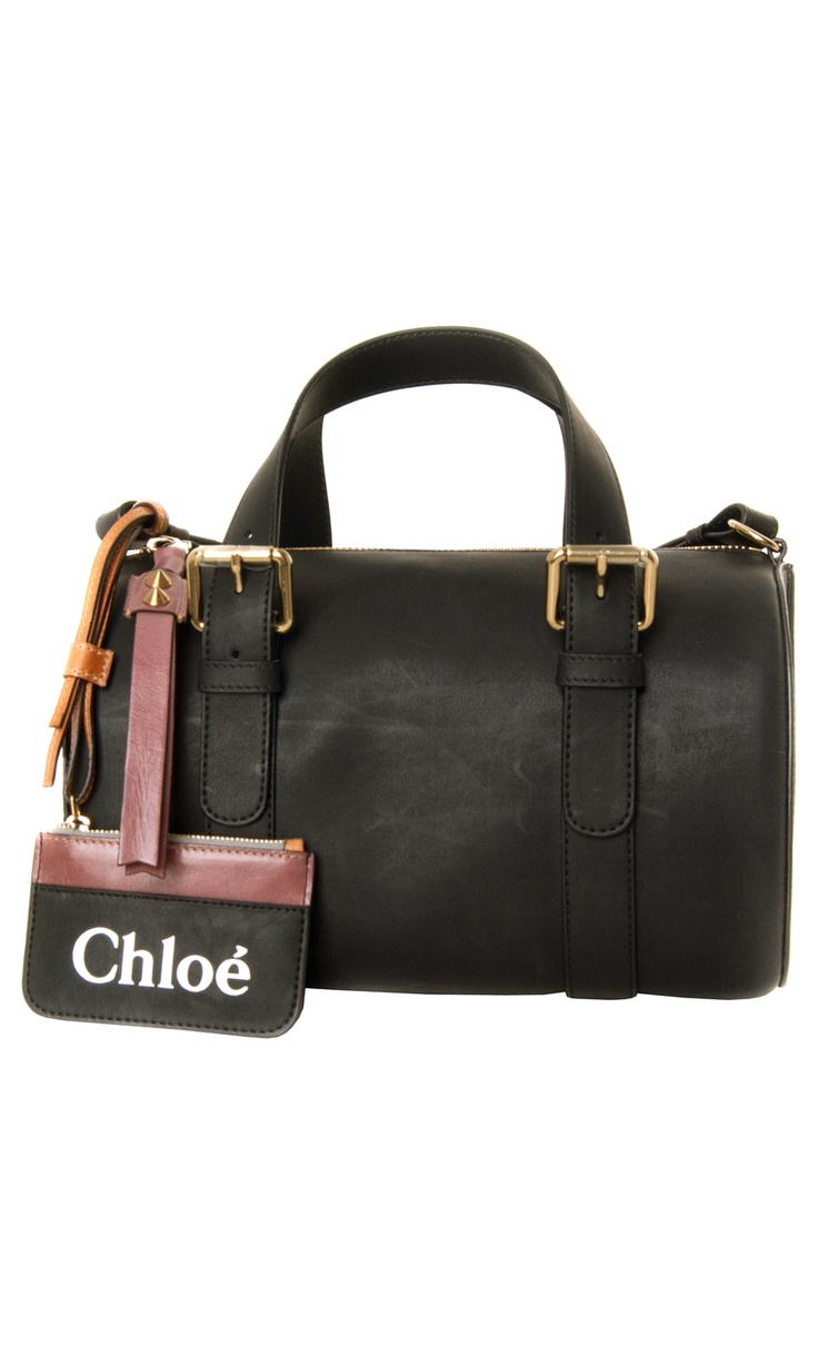 Chloé black #tote bag: double rounded top handles with gold.tone buckle fastenings