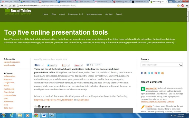 http://www.boxoftricks.net/2009/05/top-five-online-presentation-tools/    It's just what it says.....5 top presentation tools that are not PowerPoint.