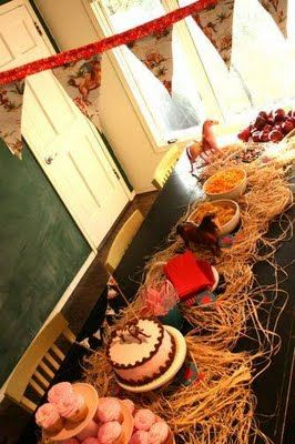 Good Idea for C's horse theme bd party- use raffi for 'hay'- or just get the real stuff from the barn- lol
