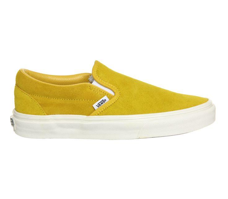 vans yellow. vans classic slip on trainers - vintage suede sulphur yellow