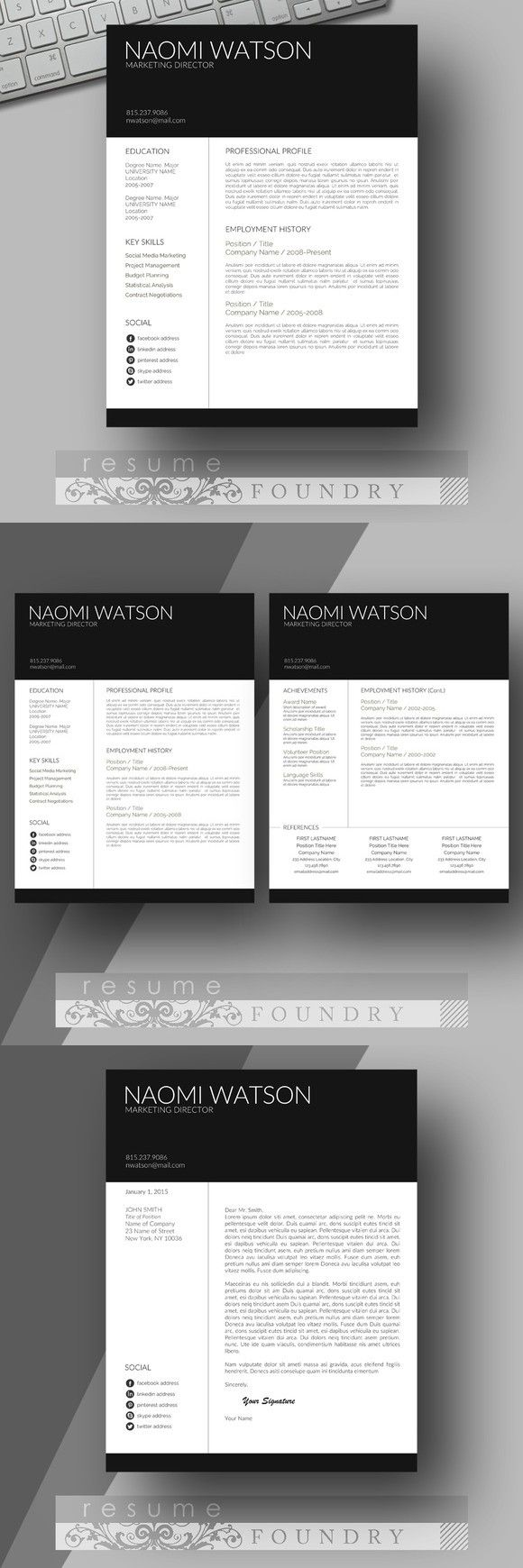 modern resume template look professional with an easy to use resume template instant download