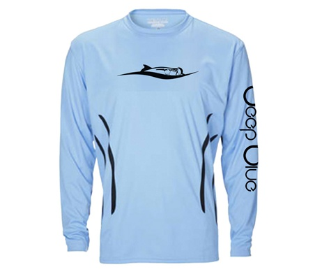 Deep blue clothing signature tarpon wave aqua gill uv for Uv fishing shirts