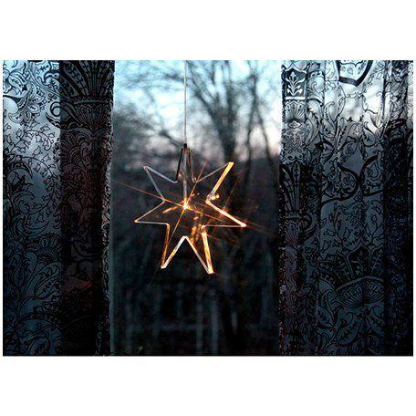 Star Trading Karla stjerne LED 25cm Dekorativ klar akrylstjerne med LED-lampe til å henge i vinduet i julen. Diameter 25cm Dybde 1,2cm Effekt maks. 0,06W 3Volt Sokkel Lysdiode Lyskilder Led Farge Klar Materiale Akryl Annet Transparent ledning 3 meter  transformator DC 3volt på kontakt