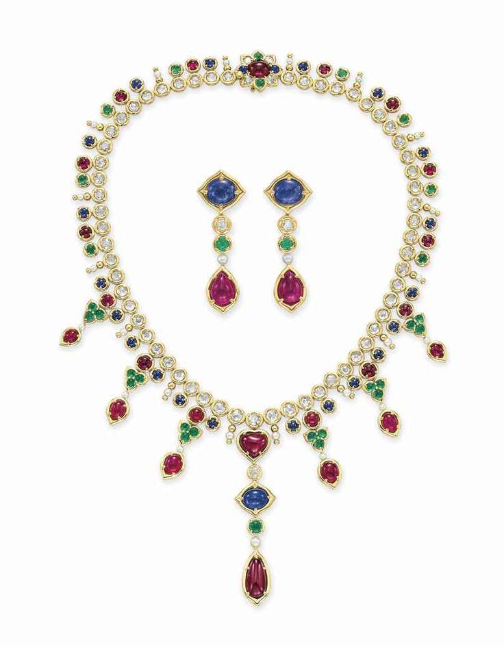 A set of diamond and multi-gem jewelry #earrings #necklace #christiesjewels