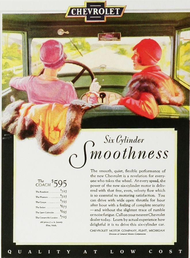 Chevrolet Ad 1920s. Women at the wheel