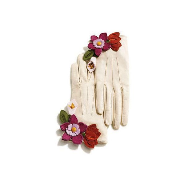 Coach Gloves Cream Floral Leather Gloves - StyleCaster ❤ liked on Polyvore