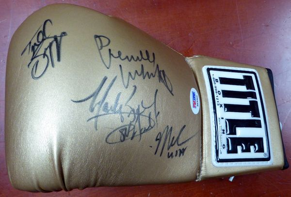 1984 USA Gold Medalist Autographed Gold Title Boxing Glove With 4 Signatures including Pernell Whitaker, Mark Breland, Meldrick Taylor & Tyrell Biggs PSA/DNA #M69963