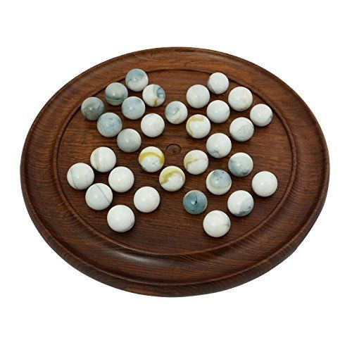 Solitaire Wooden Travel Board Games with 36 White Glass Marbles by RoyaltyRoute ** Find out more about the great product at the image link.(It is Amazon affiliate link) #sun