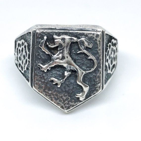 Sterling Lion Ring with Birmingham Hallmarks 1985, Sterling , anchor, lion marked, Birmingham England