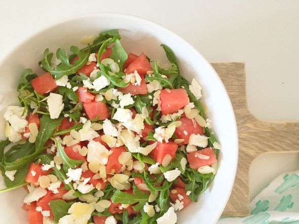 I Love Health   Watermelon salad with goat cheese   http://www.ilovehealth.nl