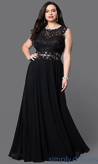 Shop black plus-size formal dresses at Simply Dresses. Mock two-piece evening dresses under $200 with lace bodices and illusion midriffs.