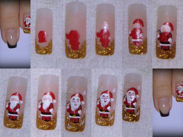 Nail Art - Step by step - Santa Claus