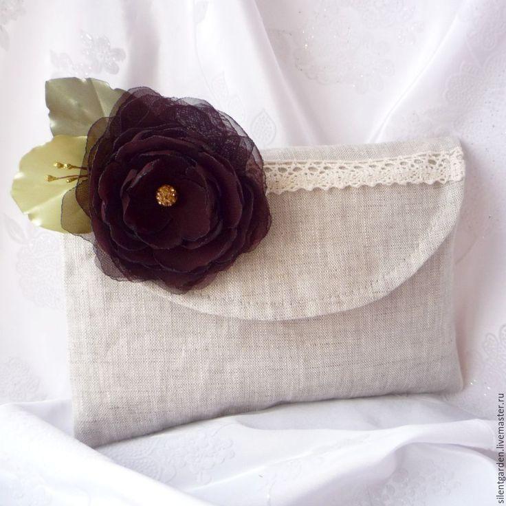 """Купить Клатч """"Шифон и лён"""" - комбинированный, клатч ручной работы, клатч с цветком, текстильная сумка"""