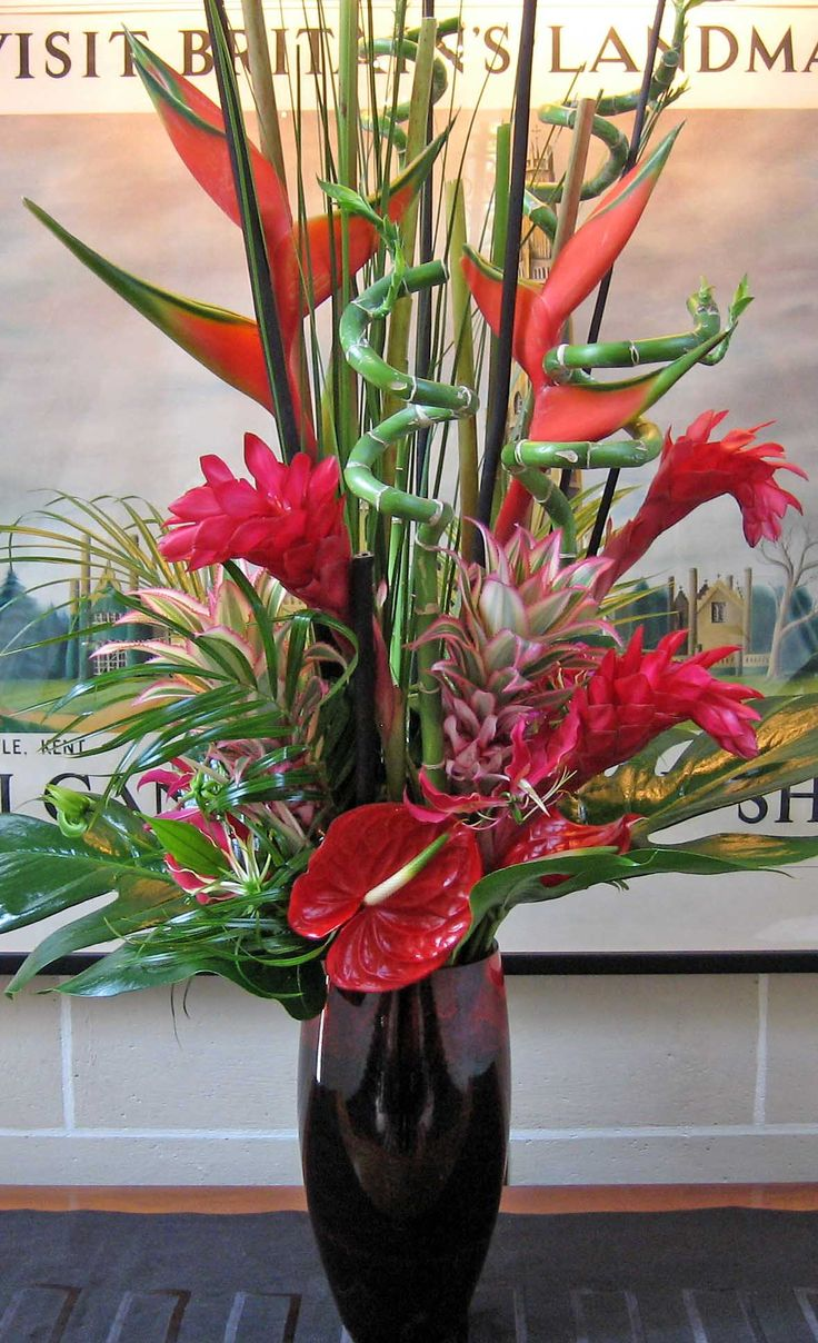 Bada_51VR Red Anthurium, Red Ginger Lilly, Red Heleconia, Bamboo, Curly Bamboo, Mixed ...