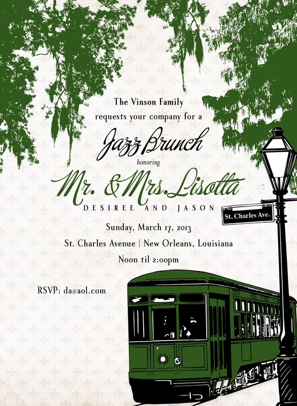 lori monahan borden design llc - Samples  invite shower jazz brunch new orleans street car