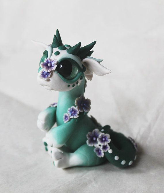 White and Green Baby Dragon with Flowers by BittyBiteyOnes on Etsy