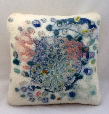 Hand felted abstract cushion 'Swarm' Approx 16 x ♥ by gladyspaulus, $95.00
