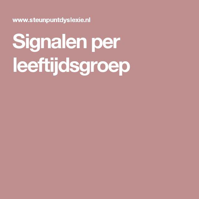 Signalen per leeftijdsgroep