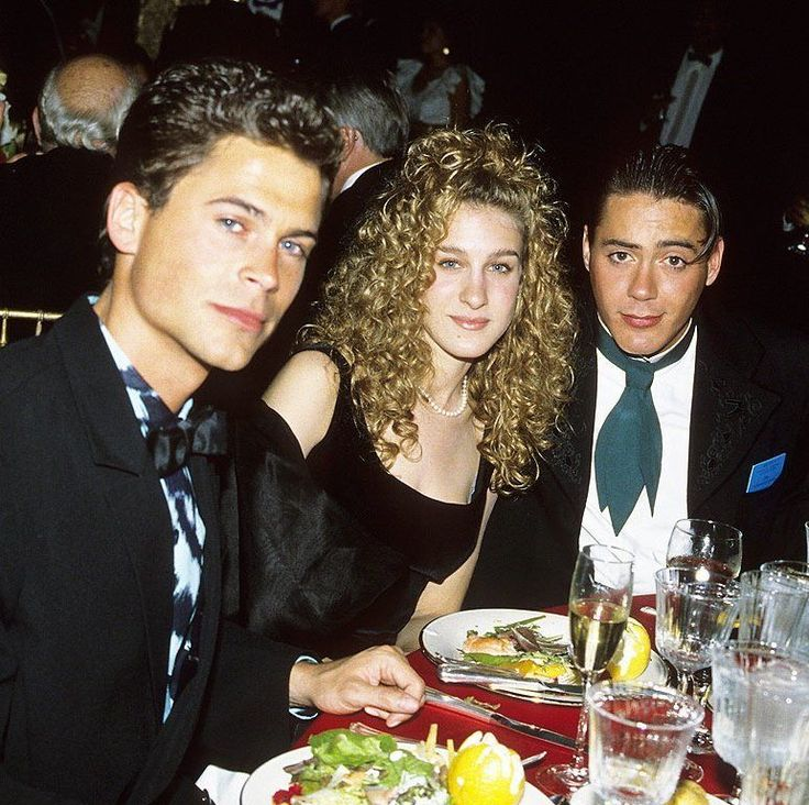 Rob Lowe, Sarah Jessica Parker, and Robert Downey Jr. at the Governors Ball after the 1988 Academy Awards