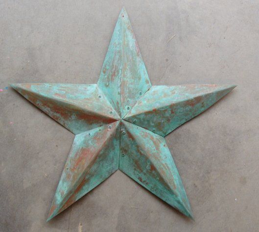 """24"""" diameter 3D star made from pure copper. Will not rust but will develop a natural copper patina over time. Assembled with copper rivets"""