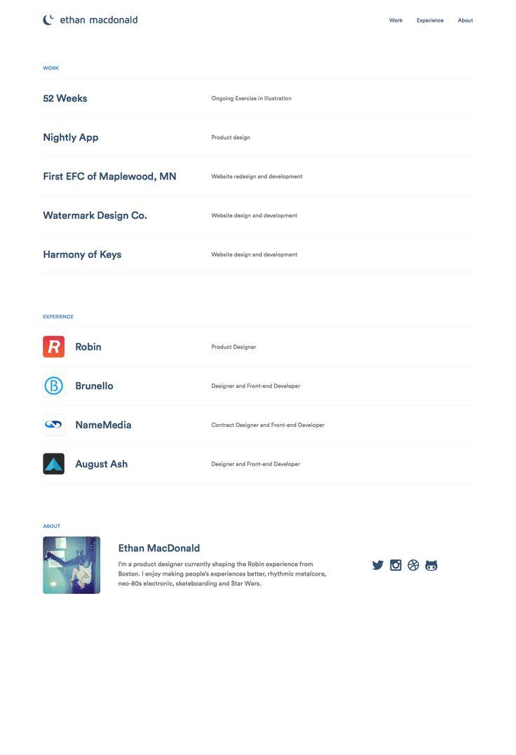 super simple, super clean portfolio design