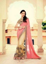 Opulent Look Pink Color Gorgeous Designer Sari With Sizzling Embroidery Work