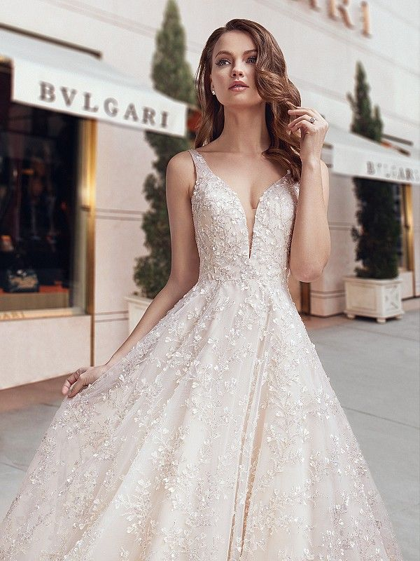 Sparkly Beaded A Line Beaded Ball Gown Style H1445 In 2020 Sparkly Wedding Dress Wedding Dress Necklines A Line Wedding Dress