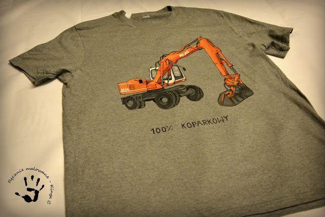 Ręcznie malowana koszulka z koparką, 100% koparkowy.  #koparka #atlas #ręczniemalowane #koszulka #tshirt #grey #handmade #handpainted #modamęska #dlaniego