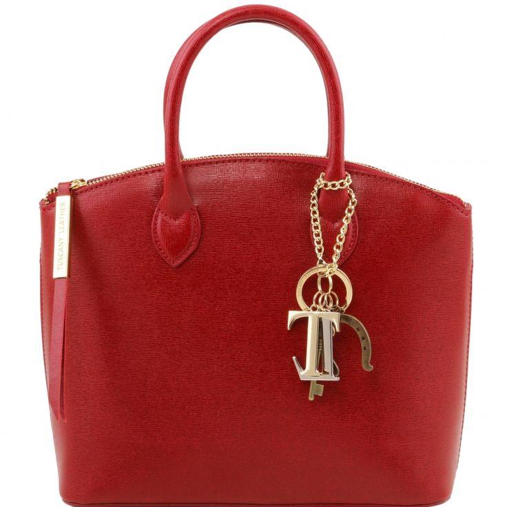 abnehmbare KeyLuck Schlüsselkette Verschluss Diese italienische saffiano leder Handtasche hat ein Metall Reissverschluss - € 83,00