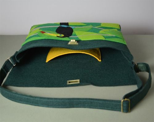 The Pointing Hound presents: WHALE TOUCAN ON TREE  green felt bag available on:  https://www.etsy.com/shop/THEPOINTINGHOUND?ref=l2-shopheader-name