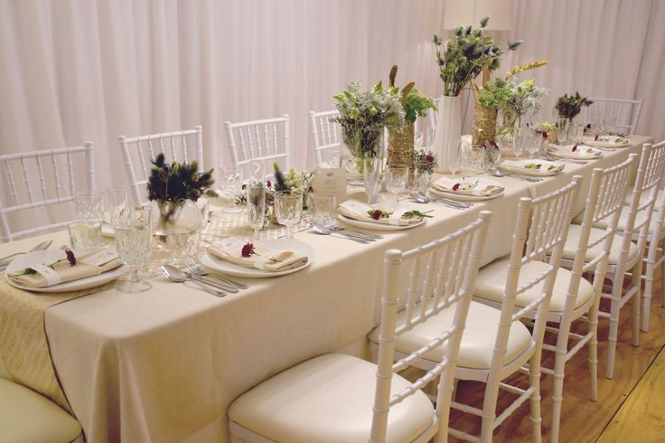Marquee styling featuring table setting and white Tiffany chairs http://www.edeevents.com.au/marquees