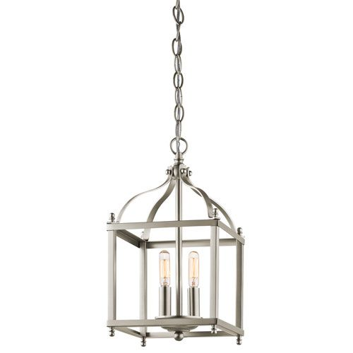 Foyer Caged Chandelier : Kichler larkin brushed nickel two light foyer cage pendant