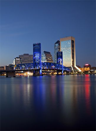 Jacksonville Florida skyline at dusk. Lived in Jax. and have many great friends there!