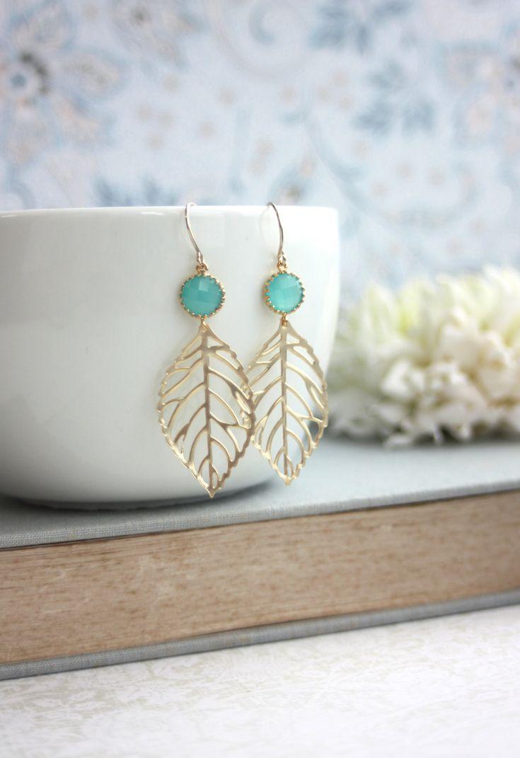 Wedding+Earrings.+Mint+Opal+Gold+Leaf+Charm+Earrings+by+Marolsha,+$23.50