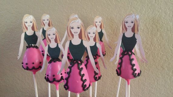 12 barbie cake pops with toppers by CoutureSweetTreats on Etsy