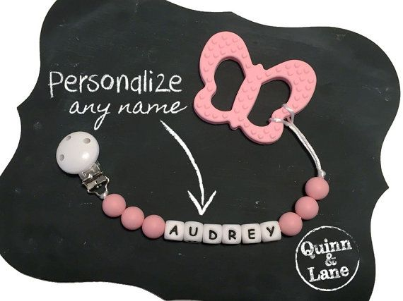 Custom PERSONALIZED Silicone Teething Pacifier Clip w/