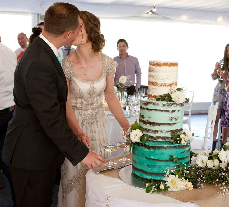 Seafoam, mint, wedding cake, semi naked, ombré, buttercream