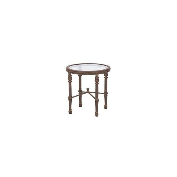 Landgrave Cast Aluminum 17 Round Glass End Table ($437) ❤ liked on Polyvore featuring home, outdoors, patio furniture, outdoor tables, round outdoor table, glass end tables, round glass side table, glass side table and round end tables