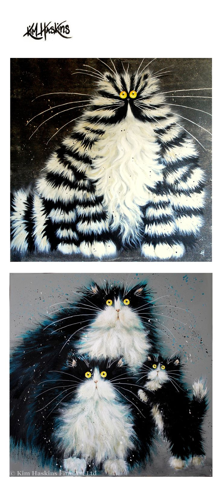Funny-looking cats by Kim Haskins, British painter and illustrator. #art #painting #cats