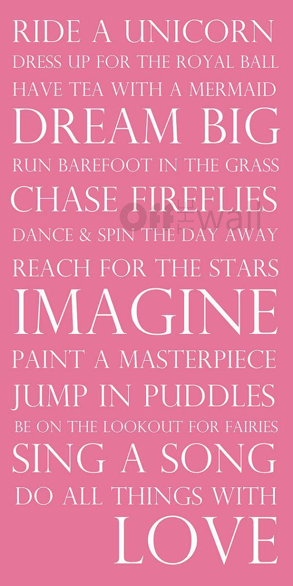 Whimsical Take on Things Little Girl's Like Best 10 x 20 Subway Art Print - Imagine, Dream, Tea with a Mermaid, etc.