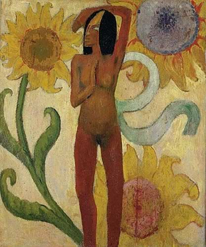 Caribbean Woman, or Female Nude with Sunflowers - Paul Gauguin