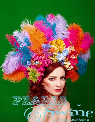Euphoria – Flamboyant Feather Headdress, Headband, Eccentric, Showgirl, Burlesque, One of a Kind, Floral, Flowers, Wearable Art, Ladies Day, Royal Ascot, Races, Statement Piece, Headwear, Pearls & Swine, Pealrs & Swine, Over the Top, OTT, Vibrant, British Designer, Milliner, Millinery, Crazy, Occasion Wear, Colourful, Multi Coloured, United Kingdom, UK, England, West Yorkshire