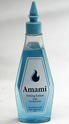 Amami Setting Lotion - my grandma used this for special occasions. Hair in rollers at 4pm and the smell of this lingering until 6pm. Good stuff