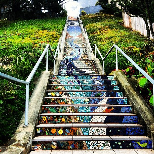 Great views, better artwork on the steps.  Golden Gate Heights Mosaic Stairway in San Francisco, CA