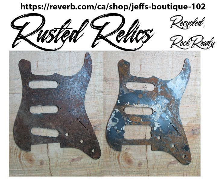 2 one of a kind Strat pickgurads from 1.8mm rusted steel. we are instagram@rustedrelicsmusic