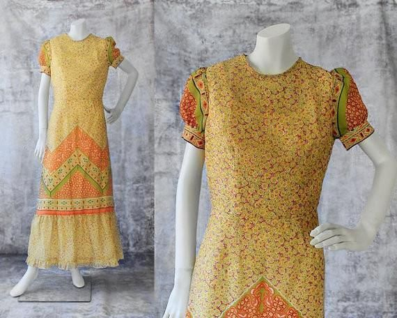 1970s Vintage Boho Maxi Dress 70s Floral Prairie Style Dress